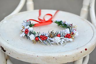 Ozdoby do vlasov - Červený vianočný venček - 10001286_