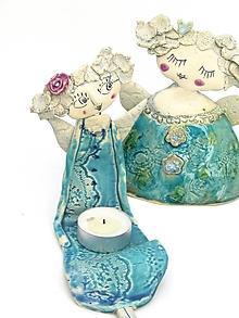 Svietidlá a sviečky - anjel sediaci  svietnik - 10002232_