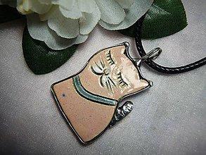 Náhrdelníky - keramika ..mačička - 10004518_