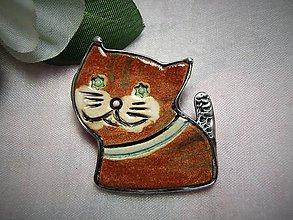 Odznaky/Brošne - keramika ...mačička - 10004579_