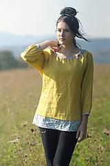 Tuniky - Lněná žlutá s kytičkovými lemy - 10002603_