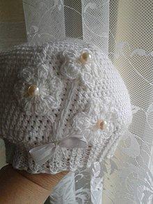 Detské čiapky - čiapočka - tri perličky s mašličkou vačšia - 10007679_