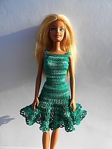 Hračky - Zelené melírované šaty pre bábiku - 10007076_