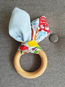 Hračky - Drevené hryzátko pre najmenších Modré sovičky - 10005791_