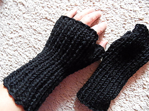 Rukavice - bezprstové rukavičky čierne unisex - 10006779_