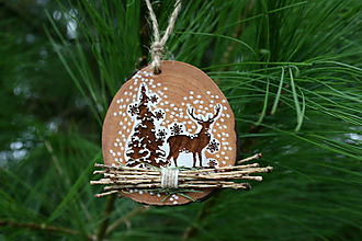 Dekorácie - vianočná drevená závesná dekorácia