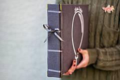 Papiernictvo - Fotoalbum klasický, obal potiahnutý látkou s nažehleným jednofarebným minimalistickým motívom (4 foto na stranu) - 10006925_
