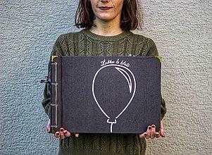 Papiernictvo - Fotoalbum klasický, obal potiahnutý látkou s nažehleným jednofarebným minimalistickým motívom (4 foto na stranu) - 10006926_