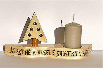 Svietidlá a sviečky - Derkorácia z dreva - Vianočný svietnik - 10006825_