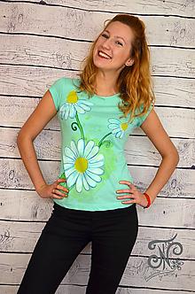 Tričká - Margarétkovo - maľované tričko - 10005404_