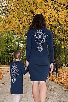 Šaty - Tmavomodré šaty - folk - 10007556_