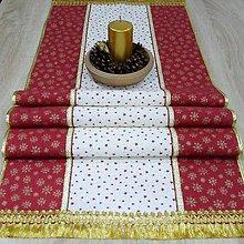 Úžitkový textil - Zlaté vločky a hviezdičky - stredový obrus 143x43 - 10007202_