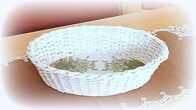 Košíky - Košík - ošatka na chlebík a ovocie  (32 x 26 v 8 oválna - Biela) - 10005899_