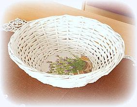 Košíky - Košík - ošatka na chlebík a ovocie  (priemer 26 výška 8 cm guľatá - Biela) - 10005914_