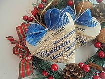 Dekorácie - Vianočné srdiečko s modrou stuhou - 10005577_