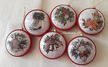 Dekorácie - Vianočný medailón - červený - 10008991_