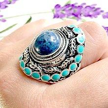 Prstene - Dumortierite Massive Antique Silver Ring / Výrazný prsteň s dumortieritom #1054 - 10011322_