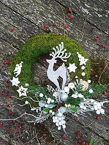 Dekorácie - ZĽAVA  Vianočný veniec machový - 10009879_