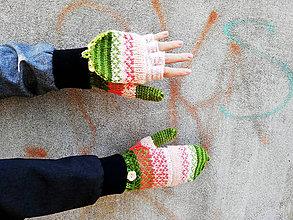 Rukavice - Rukavice ružovo-zelené s jemným vzorom - 10011449_
