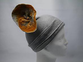 Čiapky - Plstený klobúčik 20te roky-šedý - 10009916_