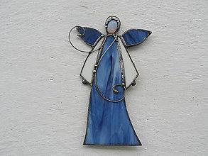 Dekorácie - Vitrážový anjelik s opalitom (Modrá) - 10008833_