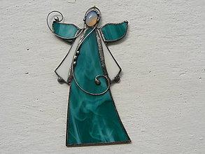 Dekorácie - Vitrážový anjelik s opalitom (Zelená) - 10008835_