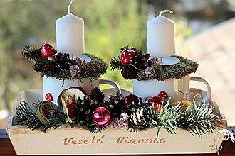 Dekorácie - Vianočný svietnik - 10008357_