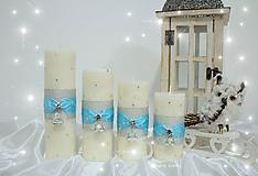 Svietidlá a sviečky - Tyrkysové s hviezdičkami - 10011057_