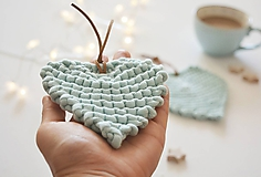 Úžitkový textil - Srdiečkové lístky - mint (malý: 11 x 10 cm) - 10011030_