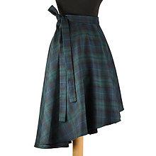 Sukne - FIONA - asymetrická zavinovacia sukňa (modro-zelené káro) - 10011447_