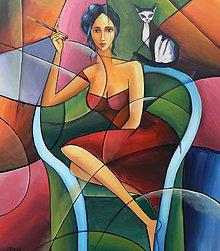 Obrazy - POHODA S KOCOUREM, kubismus - 10011033_