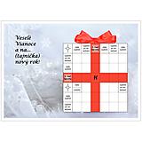 Grafika - Vianočná krížovková pohľadnica - Zima s kvapkou červenej - 10011733_