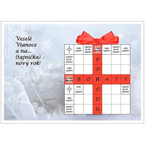 Vianočná krížovková pohľadnica - Zima s kvapkou červenej