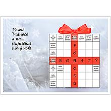 Grafika - Vianočná krížovková pohľadnica - Zima s kvapkou červenej - 10011720_