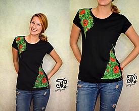 Tričká - Art maky - maľované dámske tričko (Skladom M) - 10009053_