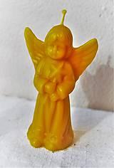 Svietidlá a sviečky - Sviečka z včelieho vosku veľký anjel - 10011714_
