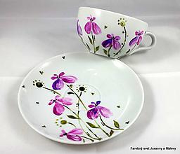 Nádoby - porcelánová šálka Orchidea - 10011259_