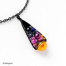 Náhrdelníky - Náhrdelník BLACK TREASURE ♥ORANGE & PURPLE♥ - 10009709_