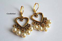 Náušnice - Zlaté srdce - 10011642_