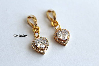 Náušnice - Klipsne Zircon Heart Crystal - 10011699_
