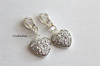 Náušnice - Klipsne Glitter Hearts Crystal - 10012006_
