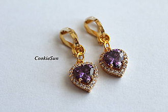 Náušnice - Klipsne Zircon Heart Purple - 10012012_