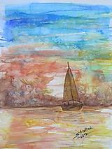 Obrazy - Čln na mori / Boat on the Sea - Originál - 10008887_
