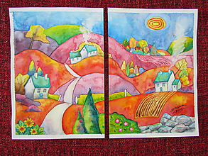 Obrazy - Jesenný dvojobraz/ Autumn diptych - Originál - 10009162_