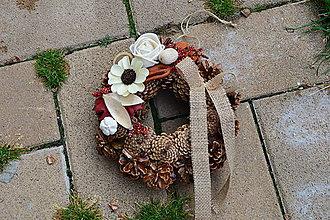 cac1105e0 Dekorácie - Prírodný jesenný smútočný venček s jutovou mašlou - 10008210_