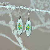 - Vianočné náušnice visiace so stromčekom, striebro Ag - 10011941_