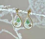 - Vianočné náušnice napichovacie so stromčekom - 10011968_