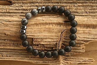 Šperky - Náramok onyx, labradorit a hematit - 10012596_