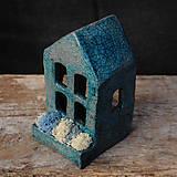 Svietidlá a sviečky - RAKU domček - svietnik - 10015380_