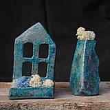 Svietidlá a sviečky - RAKU domček - svietnik - 10015381_
